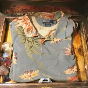 Unisex floral lotus polo pocket shirt